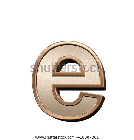One lower case letter from brushed copper with shiny frame alphabet set, isolated on white. 3D illustration.