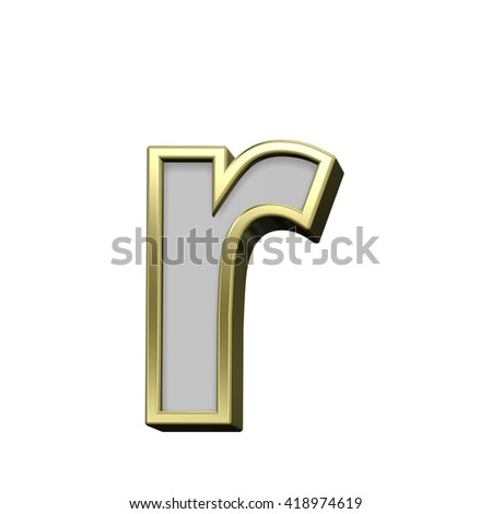 One lower case letter from gray with gold frame alphabet set, isolated on white. 3D illustration.