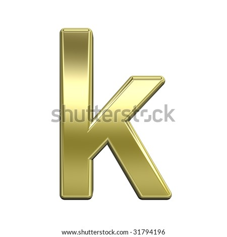 One lower case letter from shiny gold alphabet set, isolated on white. Computer generated 3D photo rendering. - stock photo