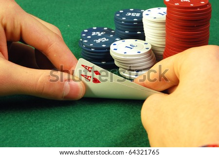 One lucky player with a pair of aces, made a big bet - stock photo