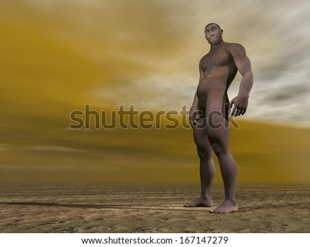 One male homo erectus standing on the ground by grey and brown cloudy day - stock photo