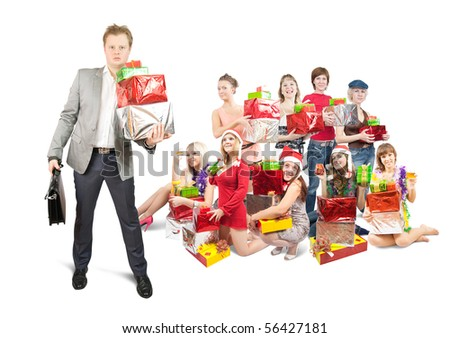 One man and group girls with present boxes - stock photo