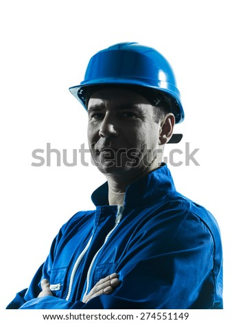 one  man construction worker silhouette portrait in studio on white background - stock photo