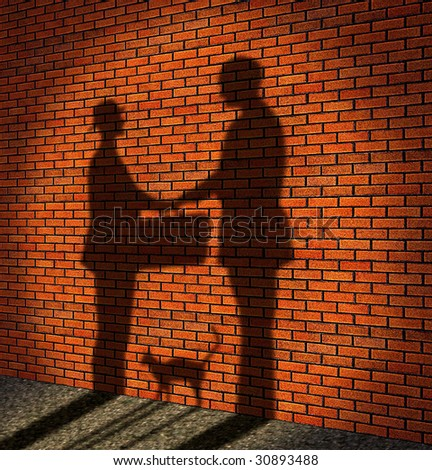 One man delivery to other man a suitcase (it is drawn in the form of a shade against a brick wall) - stock photo