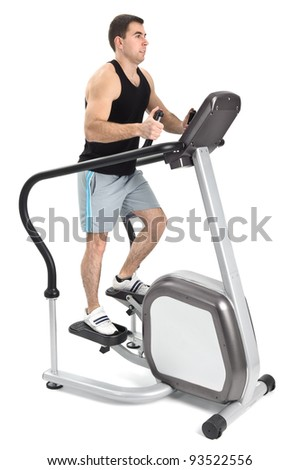 one man doing step machine exercise, on white background