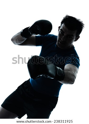 one  man exercising boxing boxer workout fitness in silhouette studio isolated on white background - stock photo