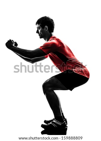 one  man exercising fitness workout lunges crouching  in silhouette  on white background - stock photo