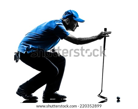 one man golfer golfing crouching in silhouette studio isolated on white background - stock photo