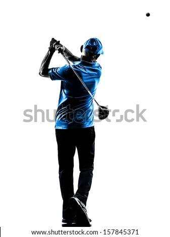 one man golfer golfing golf swing in silhouette studio isolated on white background - stock photo