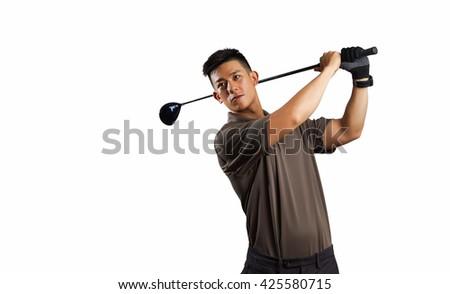 one man golfer golfing golf swing in studio isolated on white background - stock photo