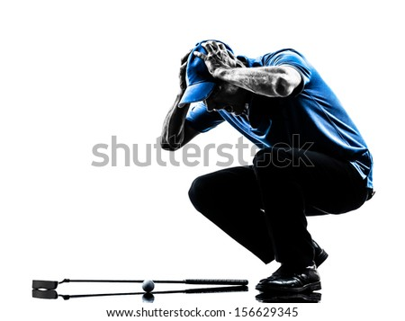 one man golfer golfing head in hands in silhouette studio isolated on white background
