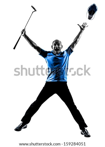 one man golfer golfing jumping  happy in silhouette studio isolated on white background - stock photo