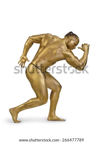 One man in a gold paint athletic indoors