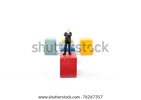 one man on stage high - stock photo