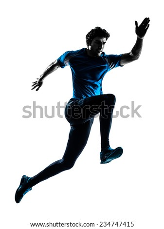 one  man running sprinting jogging in silhouette studio isolated on white background - stock photo