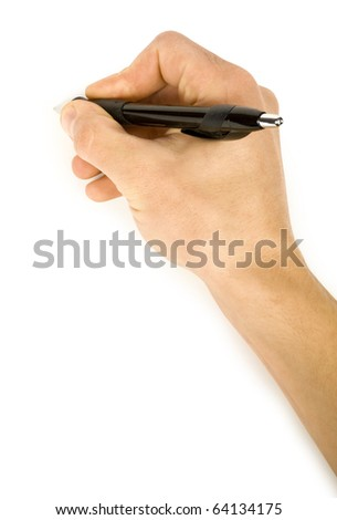 One man's hand with the pencil isolated on white background - stock photo