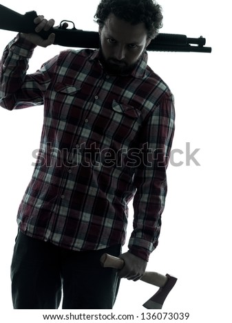 one man serial killer shotgun and axe  silhouette studio isolated on white background - stock photo