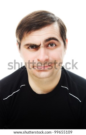 One man smiling and sad on a white background - stock photo
