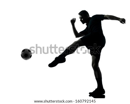 one man soccer player in studio silhouette isolated on white background - stock photo