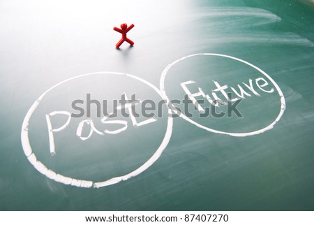 One man stands and looks  past and future. - stock photo