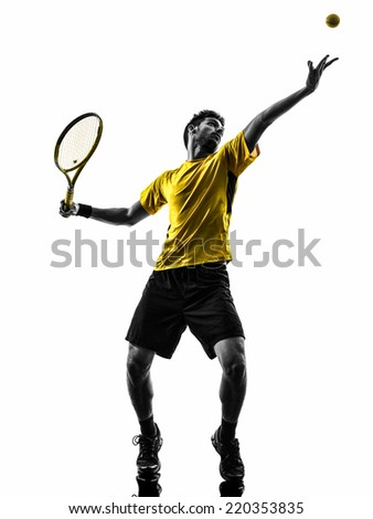 one man tennis player at service serving silhouette in silhouette on white background - stock photo