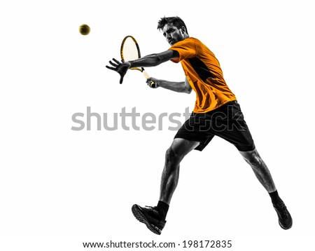 one man tennis player in silhouette on white background - stock photo