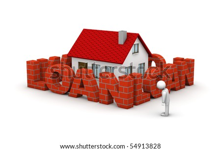 One man that cannot afford to buy a house because of high mortgage rate - stock photo