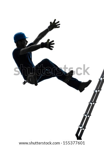 one  manual worker man falling from  ladder  in silhouette on white background - stock photo