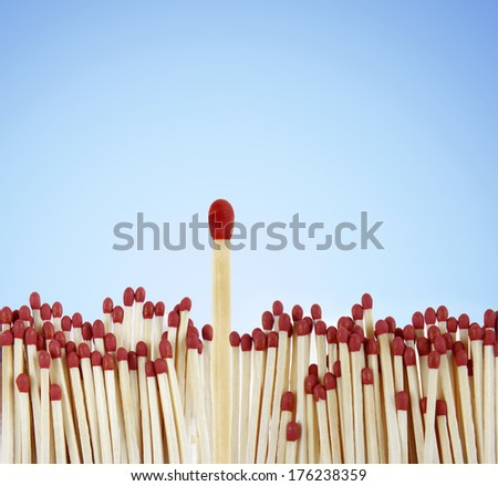 One match standing out from the crowd - stock photo