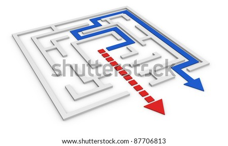 one maze with a red arrow that goes out not following the right way and a blue arrow that follows the right path (3d render)
