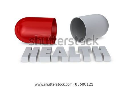 one medical pill open, concept of health (3d render) - stock photo