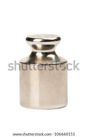 One metal weight on a white background - stock photo