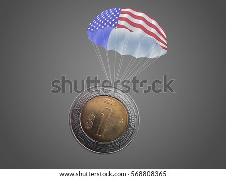 One Mexican pesos coin with an USA color parachute.