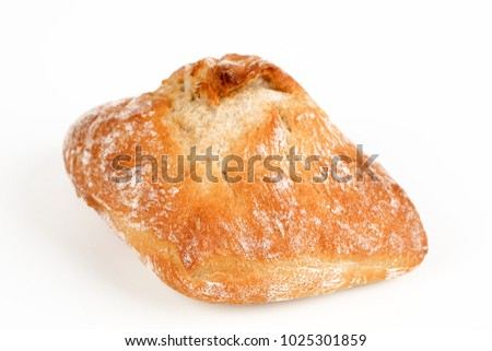 One Milanese roll with white background