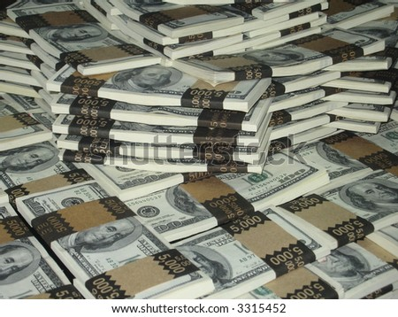 One million dollars in stacked greenbacks - stock photo