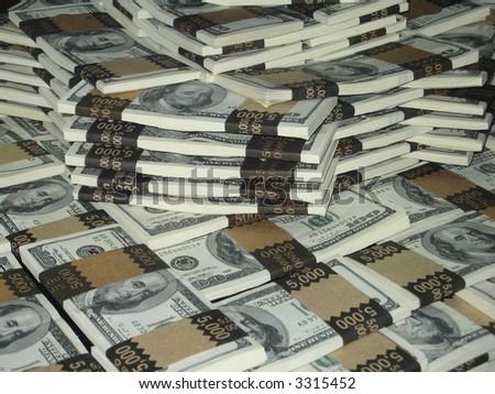 One million dollars in stacked greenbacks - stock photo