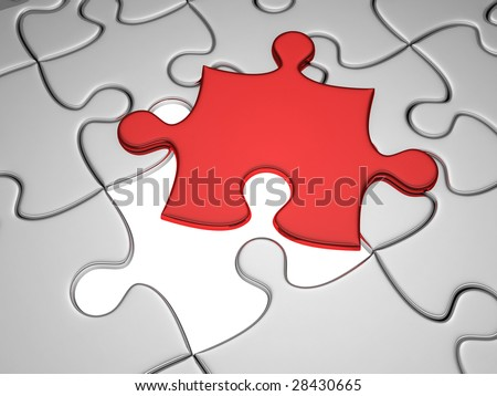 One missing red jigsaw piece from the puzzle sheet - stock photo