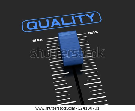 one mixer slider near to max value with the label: quality (3d render) - stock photo