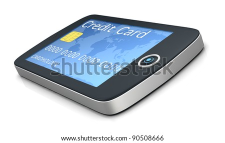 one mobile computer device with a credit card, concept of online shopping (3d render) - stock photo