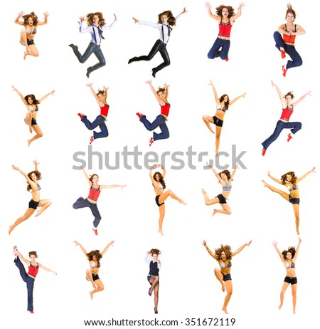 ONE MODEL Jumping CONCEPT Bright Group  - stock photo