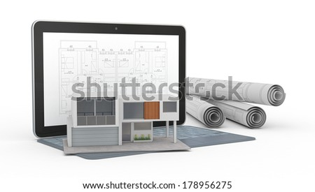 one model of a modern house, a computer with a cad software and some rolled construction projects, concept of house planning (3d render) - stock photo