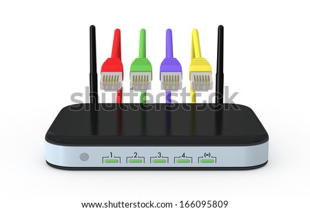 one modem router with network cables (3d render) - stock photo