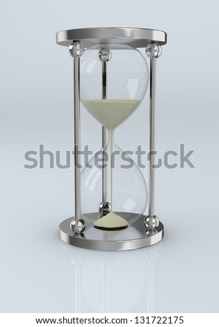 one modern hourglass with sand flowing (3d render)