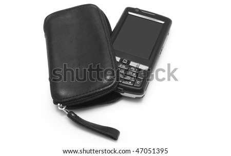 One modern mobile with case on white background