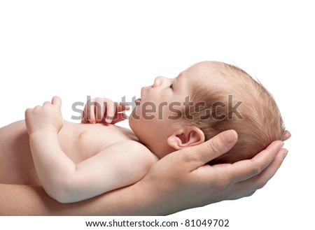 one month old baby boy in the comfort of moms arms, isolated on white background - stock photo