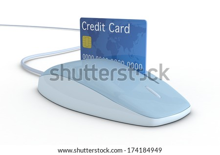 one mouse with a slot and a credit card, concept of online payment (3d render) - stock photo