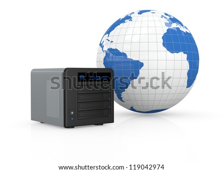 one nas (network attached storage) with a world map (3d render)