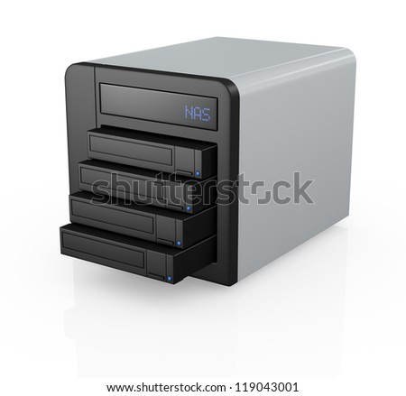 one nas (network attached storage) with four hard drives (3d render) - stock photo