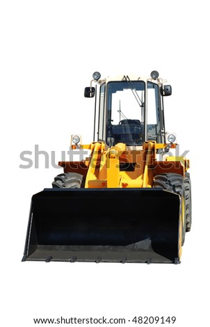 One new bulldozer isolated on white - stock photo