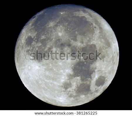 One night before full moon took on 21 february 2016 isolated on black sky. - stock photo